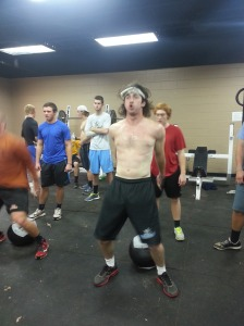 Trev knocking out some air squats.